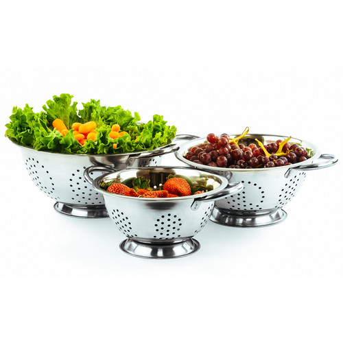 Imperial Home 3 Piece Durable Deep Stainless Steel Deep Colander Set