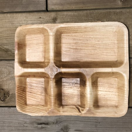 """Bio Mart Leaf Tableware/100% Natural-Eco-friendly/Re-usable/Elegant/Compostable/Disposable/Biodegradable/Party,Wedding,BBQPlates & Bowls- 10.5""""x8.5"""" Square Lunch Tray - Pack of 10 or 25 - image 2 de 2"""
