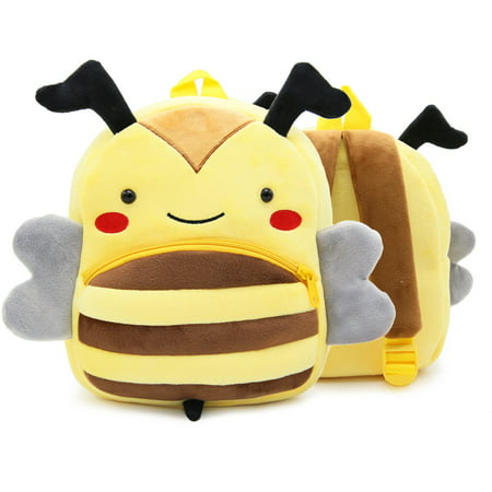 3D Children Kids Toddler Preschool Kindergarten Backpack for Boys Girls, Super Cute Cartoon Travel Lunch Bags, Cute Bee Design for 2 - 4 Years Old