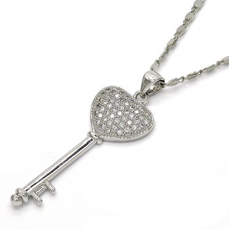 Skeleton Heart Key Gold Plated With White Micro Pave Pendant Necklace For Ladies By Folks