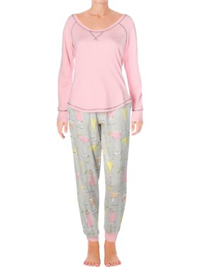 Munki Munki Womens Fancy Drinks Flannel Jogger Pajama Set