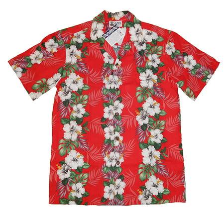 1c51138e Aloha Republic - Island Hibiscus Panel lei Hawaiian Shirts Red (SMALL) W5A  - Walmart.com