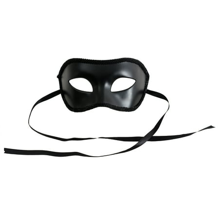 Loftus Adult Solid Masquerade Halloween Costume Half Mask, Black, One-Size (7