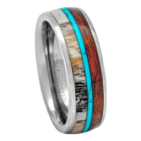 Deer Antler Ring Wedding Band Tungsten Turquoise Koa Wood 8mm Comfort Fit 7-13 (11.5)