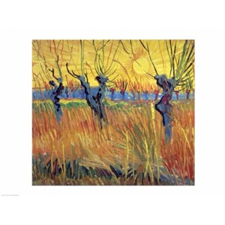 Pollarded Willows and Setting Sun 1888 Stretched Canvas - Vincent Van Gogh (24 x