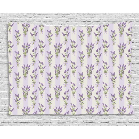 Lavender Tapestry Stripes And Flowers With Ribbons Romantic Country Home Decoration Spring Season Design Wall Hanging For Bedroom Living Room Dorm