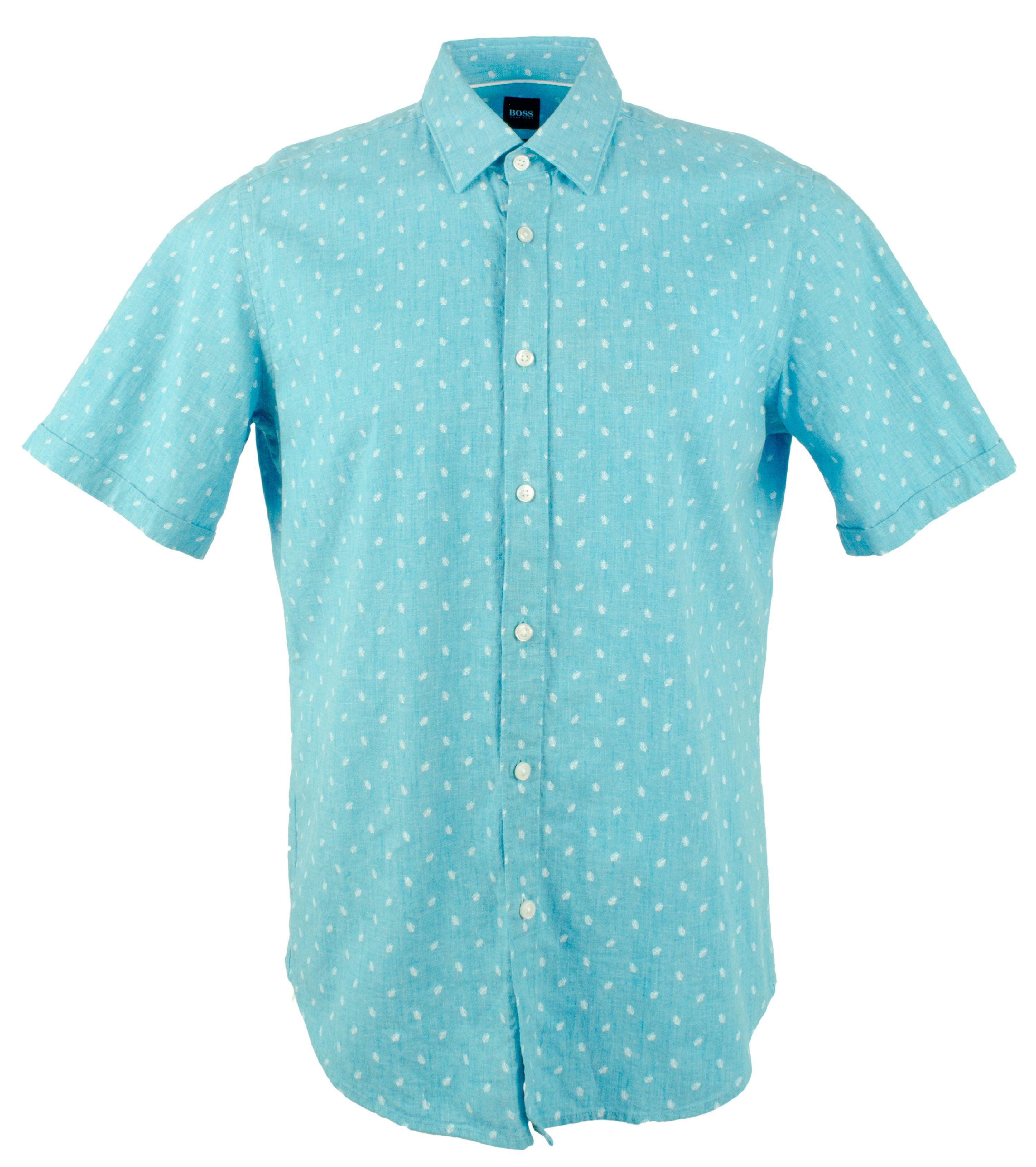392db34a3 Boss Hugo Boss - Hugo Boss Men's Luka Button Down Cotton/Linen Short Sleeve  Shirt-PB-L - Walmart.com