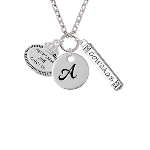 Keep Calm and Chive On - A - Script Initial Disc Courage Strength Wisdom Zoe Necklace