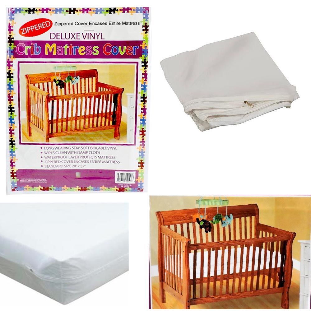 Crib Size Zippered Mattress Cover Vinyl Toddler Bed Allergy Dust Bug Protector !