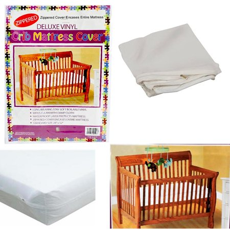 Crib Size Zippered Mattress Cover Vinyl Toddler Bed Allergy Dust Bug Protector