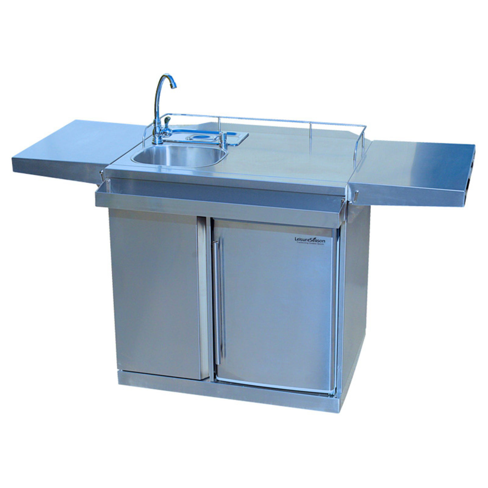 Leisure Season Outdoor Kitchen Cart with Fridge and Sink - Walmart.com
