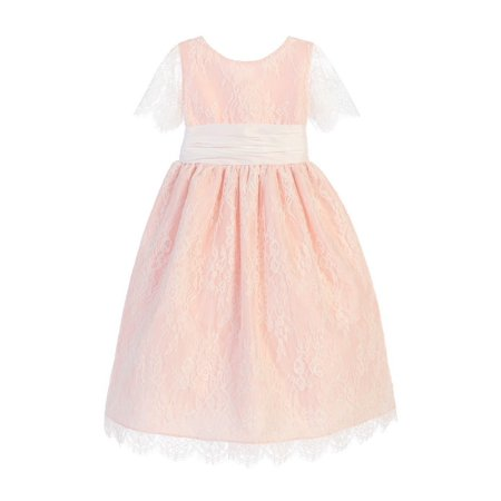35fab8de579 Sweet Kids - Sweet Kids Little Girls Blush French Lace Dupioni Flower Girl  Dress - Walmart.com
