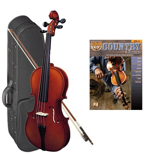 Strunal 220 Student Violin Country Classics Play Along Pack - 1/2 Size European Violin w/Case & Play Along Book