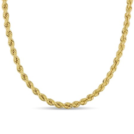 Gold Mens Robe - Miadora  Signature Collection 10k Yellow Gold Mens Hollow Rope Necklace