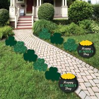 St. Patrick's Day - Shamrock and Pot of Gold Lawn Decorations - Outdoor Saint Patty's Day Party Yard Decorations - 10 Ct