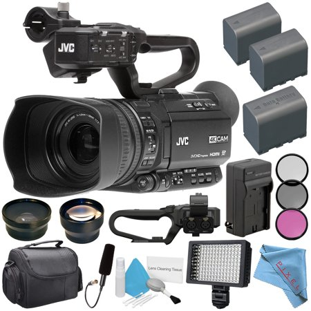 JVC GY-HM180 GY-HM180U Ultra HD 4K Camcorder + BNV-F823 Replacement Lithium Ion Battery + External Rapid Charger + 62mm Wide Angle Lens + 62mm 2x Lens + JVC QAN0067-003 Microphone
