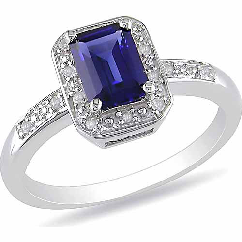 1-3/5 Carat T.G.W. Emerald-Cut Created Blue Sapphire and Diamond-Accent Sterling Silver Engagement Ring