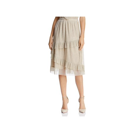 June & Hudson Womens Shimmer Ruffled A-Line Skirt