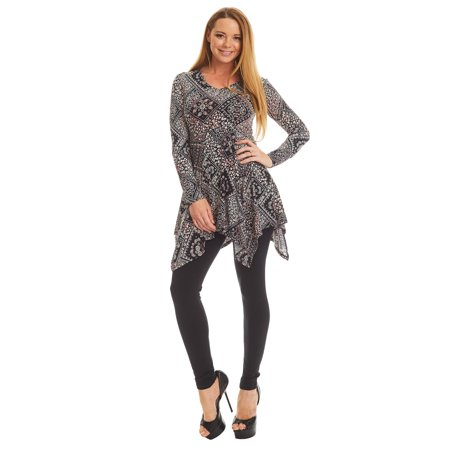 Made By Johnny MBJ WT1316 Womens Print V neck Long Sleeve Side Panel Tunic Top XXL Pink_Black