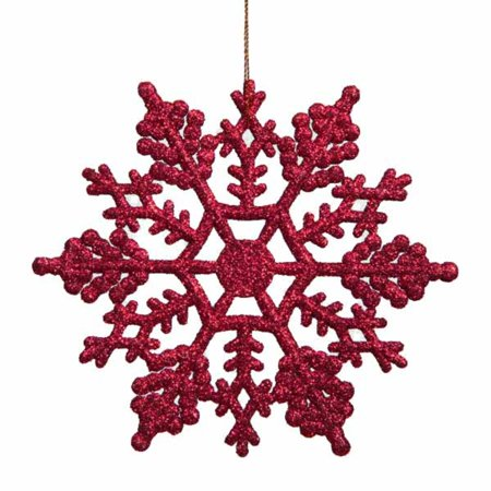 Club Pack of 24 Berry Red Glitter Snowflake Christmas Ornaments 3.75