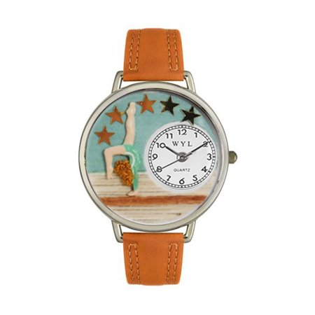 Whimsical Gymnastics Tan Leather And Silvertone Watch