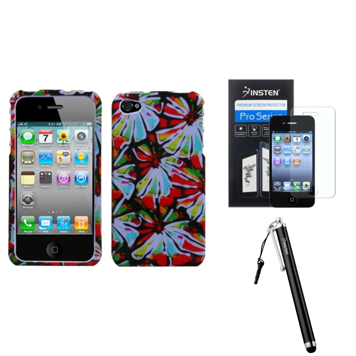 Insten Flower Power Phone Case�� For iPhone 4 4S + Stylus + Screen Guard