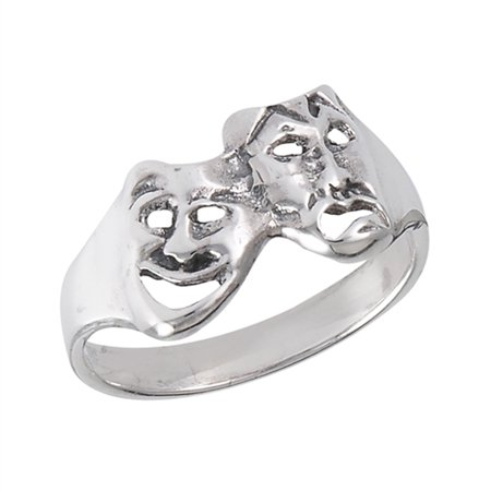 Happy Sad Mask Comedy Tragedy Face Ring ( Sizes 5 6 7 8 9 ) New .925 Sterling Silver Band Rings by Sac Silver (Size 9) - Sack Mask