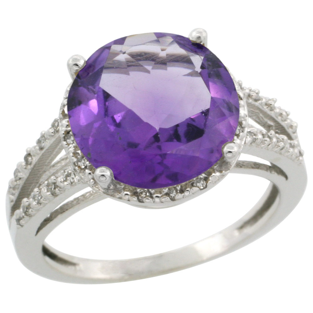 10K White Gold Diamond Natural Amethyst Ring Round 11mm, sizes 5-10 by WorldJewels