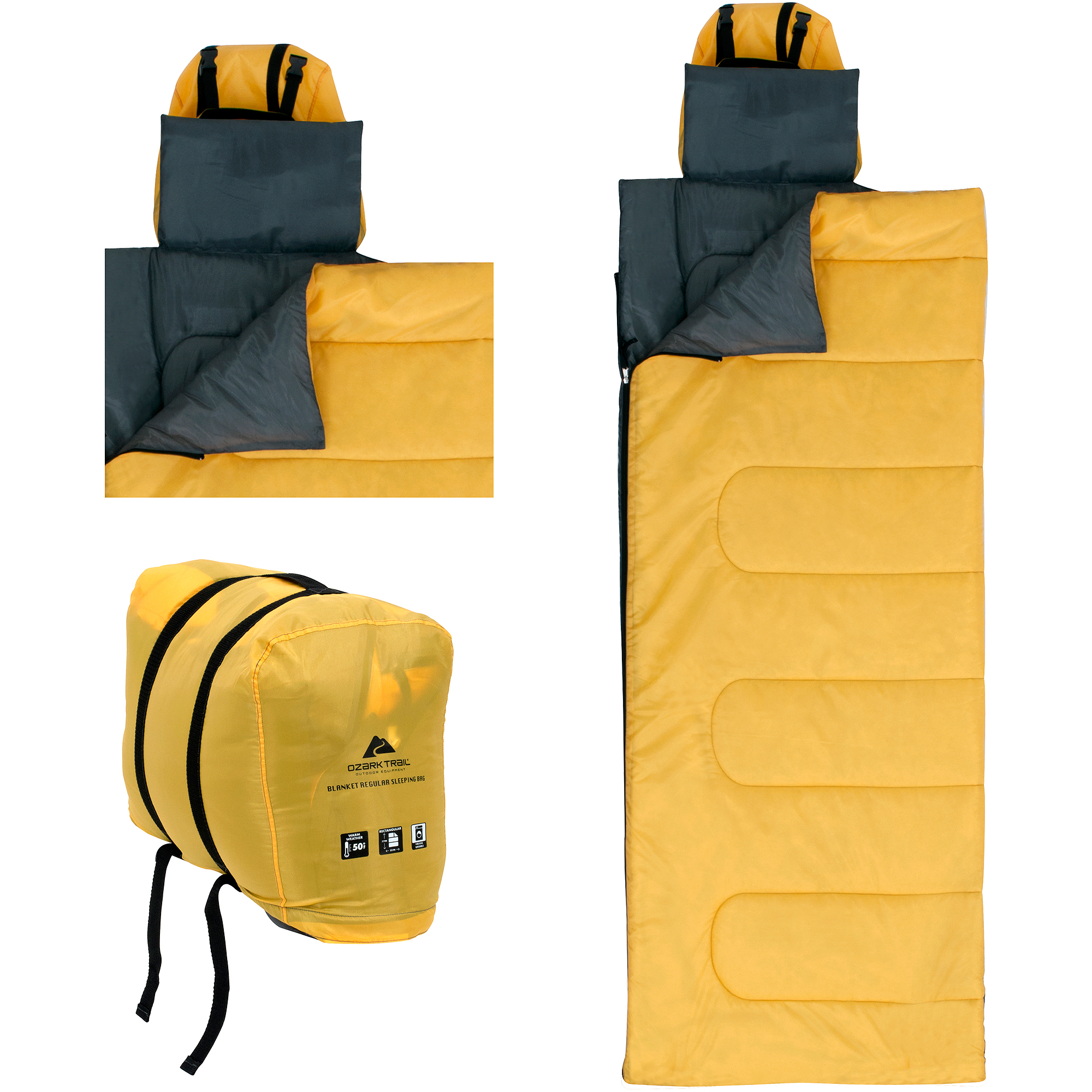 Ozark Trail 50F OPP Blanket Regular Sleeping Bag, Yellow/Gray