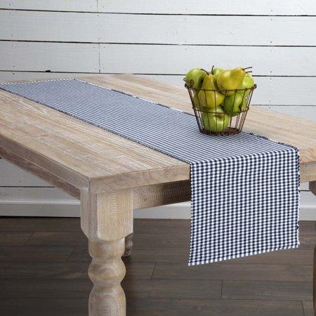 Ashton & Willow Navy Blue Farmhouse Tabletop Kitchen Tara Cotton Plaid Rectangle 13x72 Runner