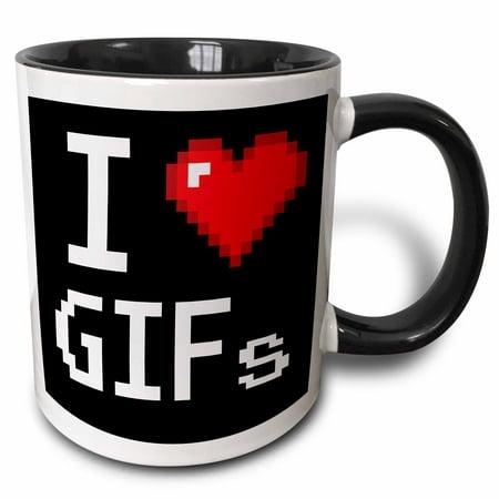 3dRose Geeky Old School Pixelated Pixels 8-Bit I Heart I Love GIFs - Two Tone Black Mug, (Pixelated Heart)