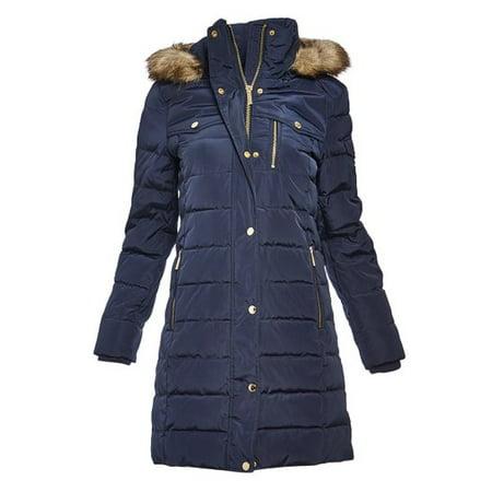ba6192a99 Navy Michael Kors Jackets for Women Hooded Winter Puffer Down Jacket Coat  for Ladies Lightweight Women Winterwear Online
