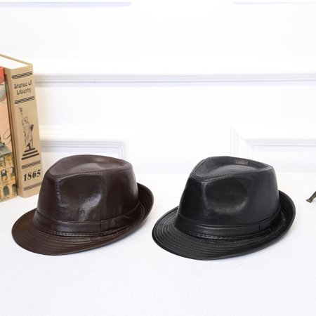 Male Female British Style Simple All-Match PU Leather Hat Cowboy Hat Formal Hat Autumn And Winter Curling Verge - image 3 of 8