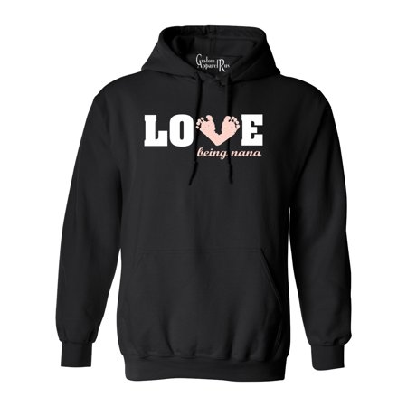 Love Being a Nana Baby Pink Feet Womens Hoodie Sweatshirt