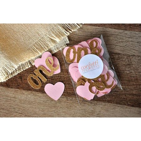 Pink And Gold Party Decorations  Ships In 1 3 Business Days  Heart Confetti With  One  Cutouts