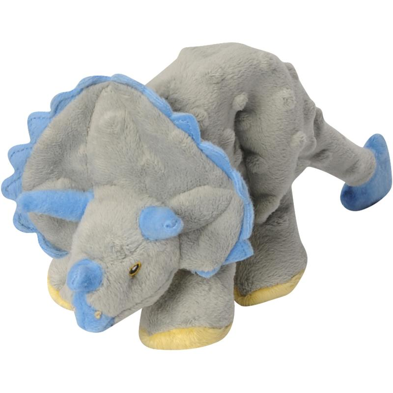Quaker Pet Group GoDog Dinos 770798 Plush Squeaker Frills The Triceratops Dog Toy, Gray, Small