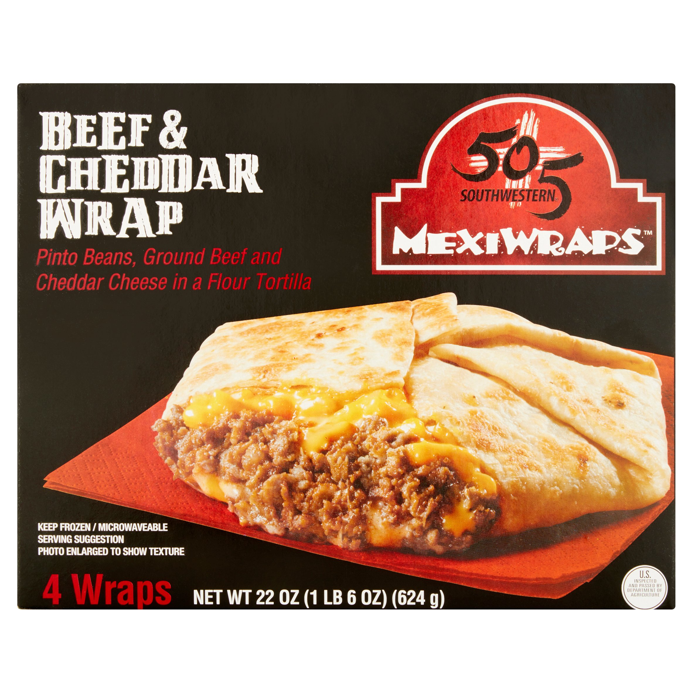 505 Southwestern MexiWraps Beef & Cheddar Wrap, 4 count, 5.5 oz