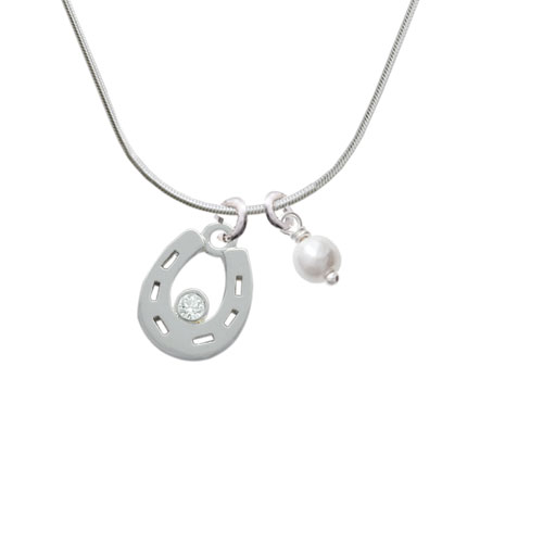 Horseshoe with Clear Crystal - Imitation Pearl Bicone Crystal Necklace