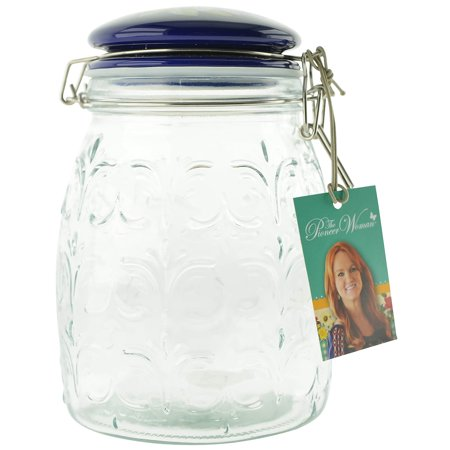 Pioneer Woman Floral Clamp Jar with Ceramic Lid, 67 Oz