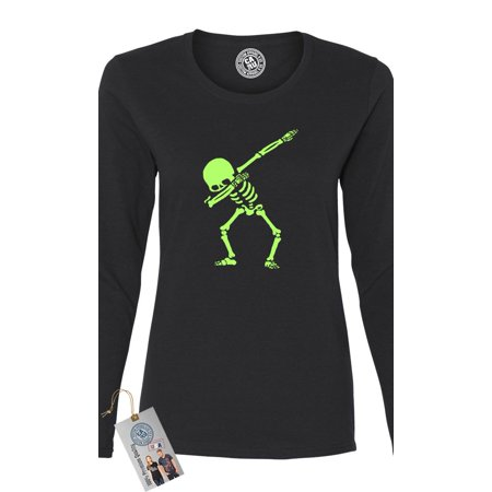 Dabbin Skeleton Halloween Shirt Womens Long Sleeve T Shirt - Skelton Top