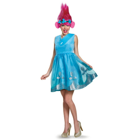 Troll Wig Costume (Dreamworks Trolls Movie Poppy Adult Women Deluxe Halloween Costume With)