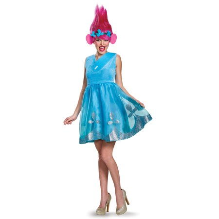 Dreamworks Trolls Movie Poppy Adult Women Deluxe Halloween Costume With Wig (Womens Adult Halloween Costume)