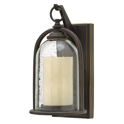 """Hinkley Lighting 2614 1-Light 13.5""""T Candle Style Lantern Wall Sconce with Clear Seedy Glass Shade from the Quincy Collection"""