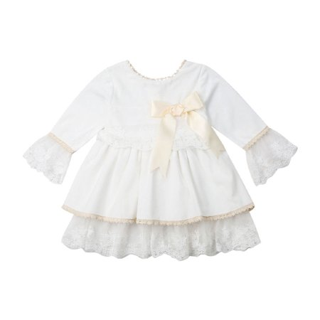 Toddler Baby Girl Lace Silver Velvet Dress Ruffle Long Flare Sleeve Floral Party Vintage Princess Dresses ()