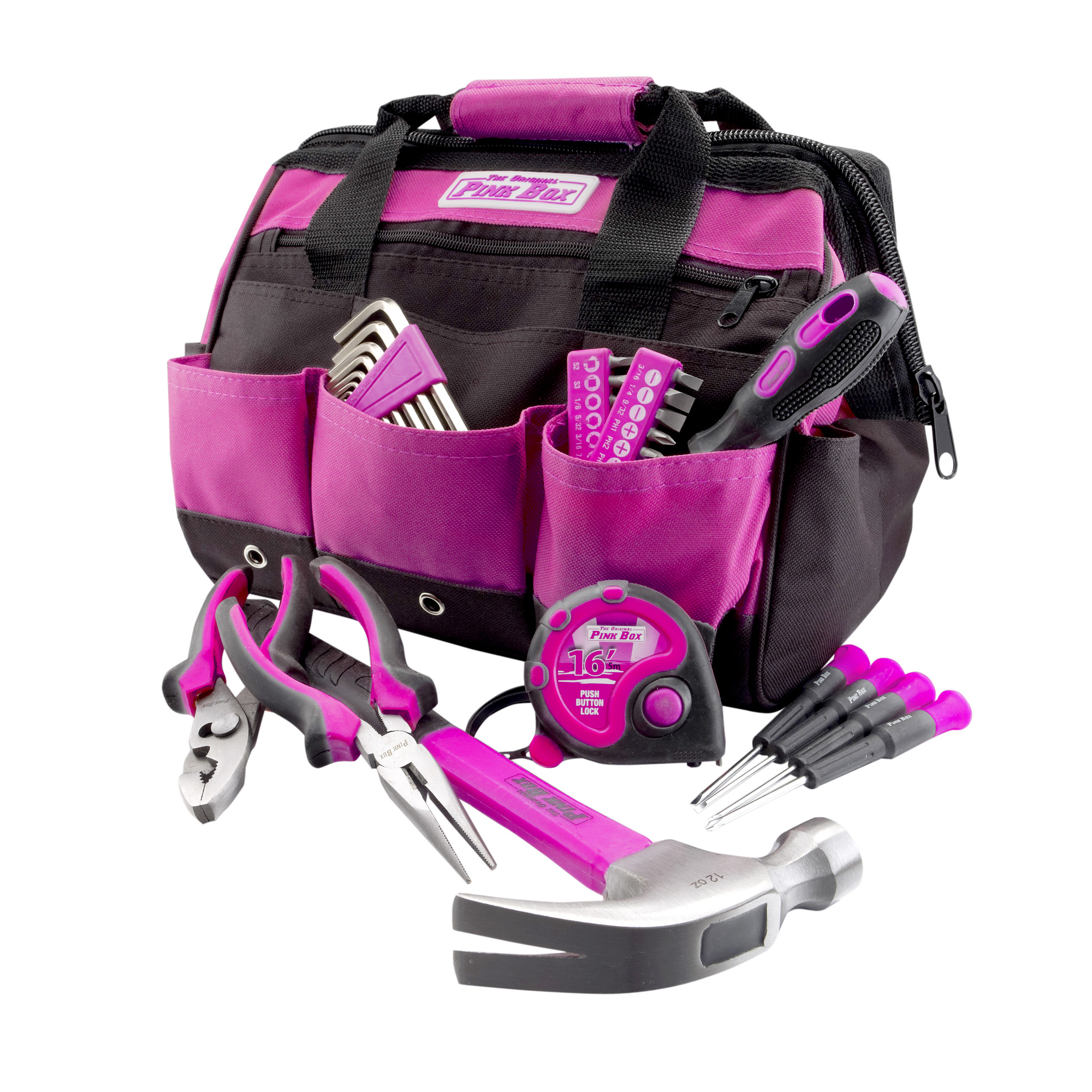 The Original Pink Box PB30TBK 30-Piece Home Tool Set, w  12-Inch Tool Bag, Pink by Cala Industries, Inc