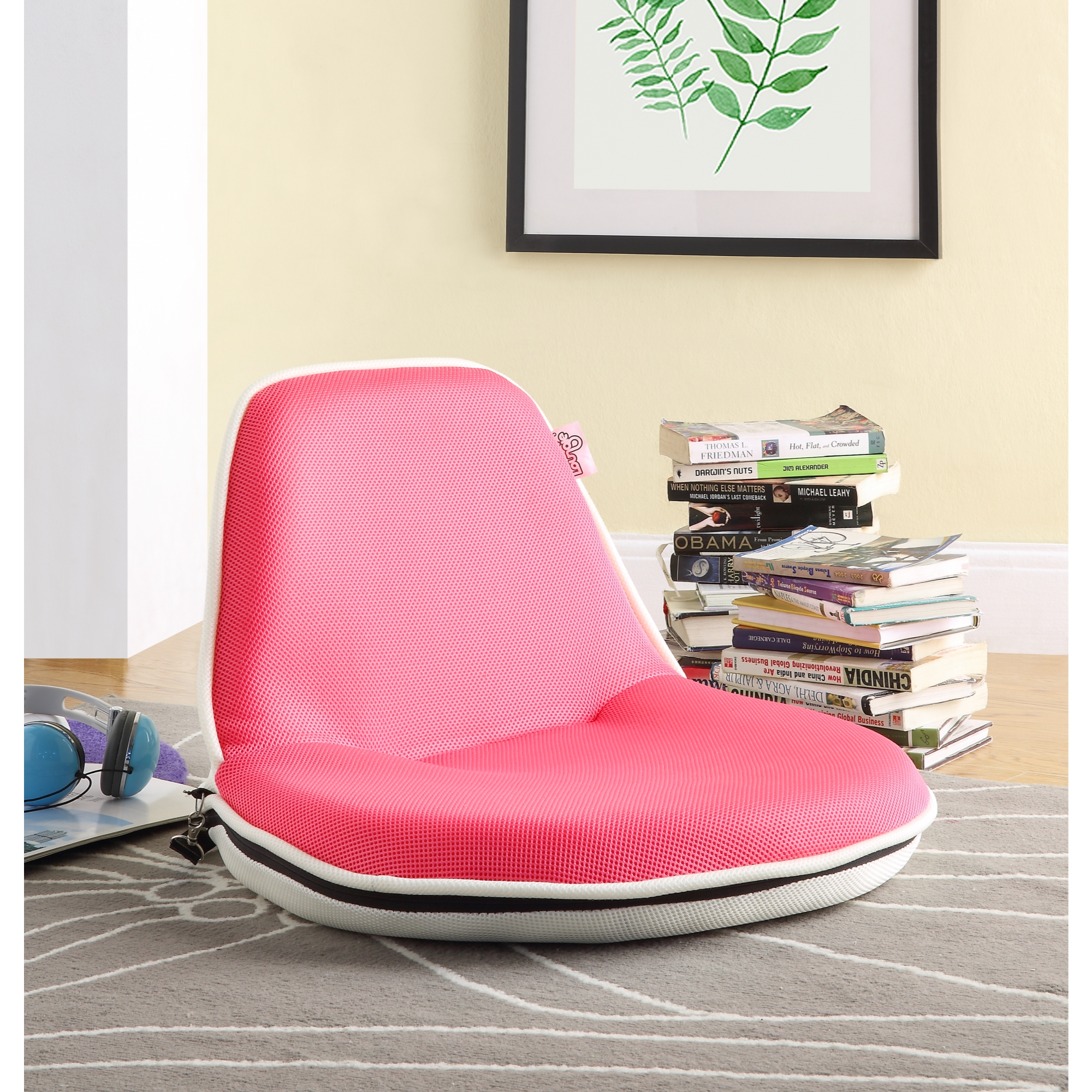 Loungie Grey Mesh Floor Chair - Foldable | Portable with Strap | Indoor and Outdoor | Lightweight