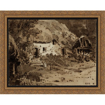 - A Thatched Cottage among Trees 34x28 Large Gold Ornate Wood Framed Canvas Art by Thomas Girtin