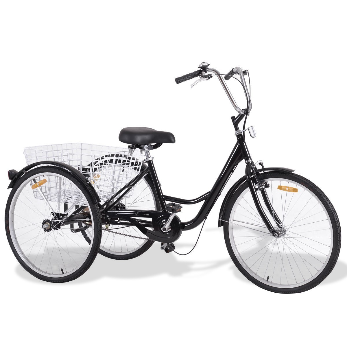 "26"" Black Single Speed Tricycle with Adjustable Seat"