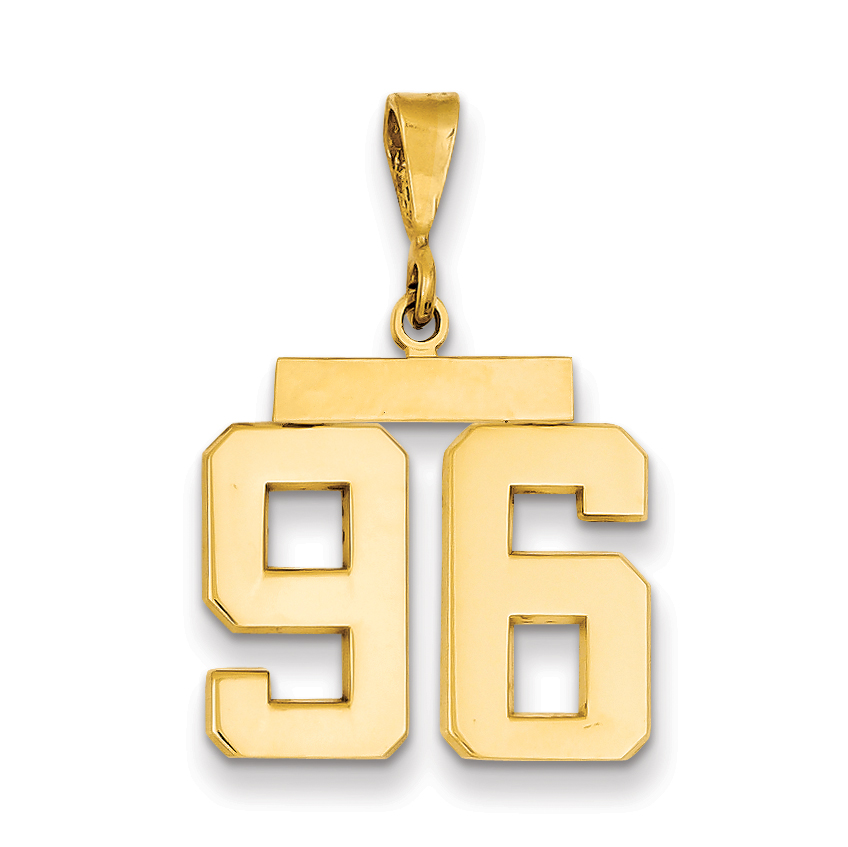 14K Yellow Gold Medium Polished Number 96 Pendant / Charm