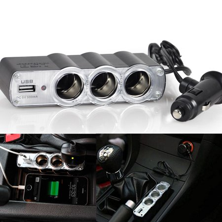Xotic Tech 1 Set USB and Triple 12V Car Cigarette Adapter Charger Socket Splitter 4 Outlets